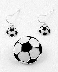 Silver Tone / Black & White Epoxy Hook (earrings) / Soccer Pendant & Earring Set