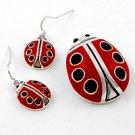 Silver Tone / Black & Red Epoxy / Hook (earrings) / Lady Bug Pendant & Earring Set