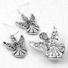 Silver Tone / Angel With Clear Crystals / Pendant & Earring Set