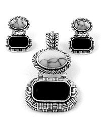 Silver Tone / Multi Gemstones / Post (earrings) / Pendant & Earring Set