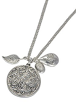 An etched floral disc pendant