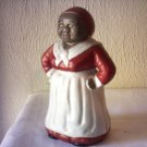 ANTIQUE AUNT JERIMIMA CAST IRON BANK - MAMMY W/ RED DRESS WHITE APRON