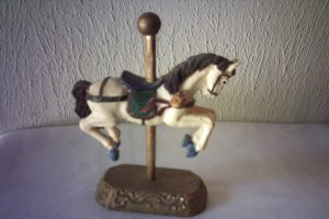 CAROUSEL HORSE & POLE ON STAND - NICE COLLECTIBLE