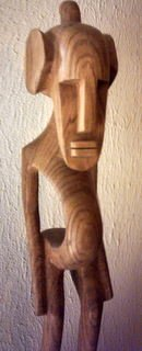 "POTBELI AFRICAN WOOD CARVING 19 3/4"" TALL - BEAUTIFUL WOOD"