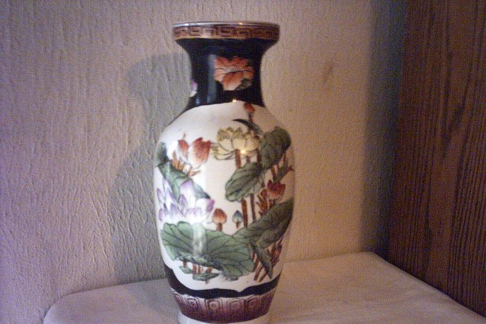 "ORIENTAL VASE - PORCELAIN - BLACK & WHITE W FLOWERS & LEAVES - 12"" TALL"