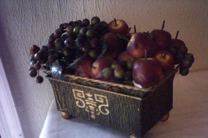 TIN PLANTER W APPLES & BERRIES BROWN & GOLD W ORIENTAL DESIGN ON FRONT