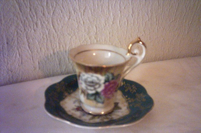 HANDPAINTED MINIATURE CUP & SAUCER - FERN - DECORATIVE PORCELAIN BEAUTIFUL
