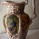 CERAMIC FRUIT & GRAIN PITCHER - GRAPES, STRAWBERRIES, WHEAT - VICTORIAN DESIGN