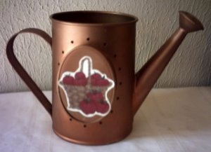 COPPER TIN WATERING CAN APPLE DECORATED POTPOURRI HOLDER