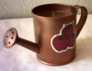 COPPER TIN WATERING CAN W/ APPLES CANDLEHOLDER & CANDLE