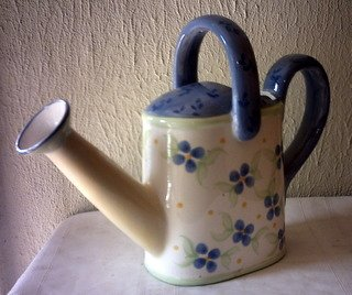 PFALTZGRAFF WATERING CAN - WHITE & BLUE W/ BLUE FLOWERS