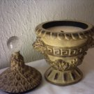 "LION CANDLEHOLDER AND CANDLE WITH TOP - 9"" TALL"