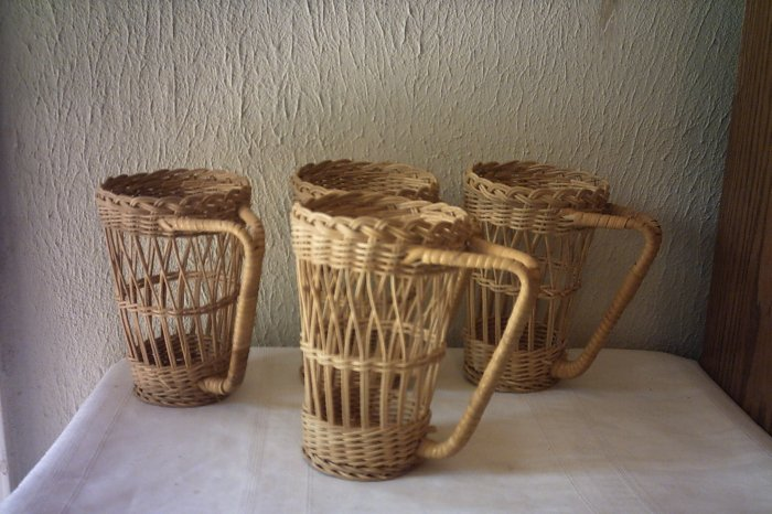 "NATURAL WICKER GLASS HOLDERS - SET OF FOUR - 6 3/4"" TALL"