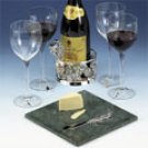 Silverplated & Marble Wine & Cheese Set for 4 - 12 piece