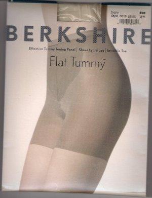 Berkshire Flat Tummy Sheer Lycra Leg Hosiery Sz 3-4 Ivory