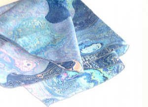 "21"" SQUARE BLUE ""WATER"" PRINT CREPE SCARF"