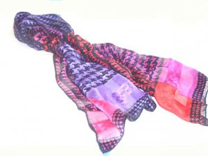 RED BLUE PURPLE ORANGE PINK HOUND'S TOOTH PRINT 100% SILK SCARF