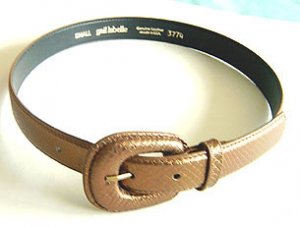 BRONZE METALLIC LEATHER SNAKE EMBOSSED BELT by GAIL LABELLE Small