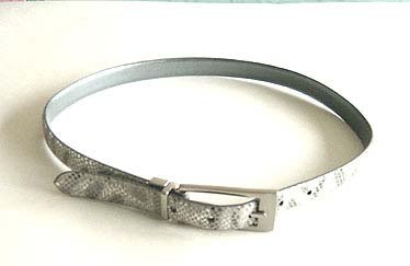 "METALLIC SILVER SNAKE EMBOSSED 3/4""BELT Small"