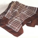 "BROWN & WHITE PLAID 26"" SQUARE SCARF"