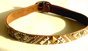 """STUNNING 1.75"""" WIDE BROWN BELT WITH GOLD & SILVER STUDS Sz Small"""