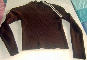 Brown SILK Blend Sweater White Shoulder Zipper Sm ++++