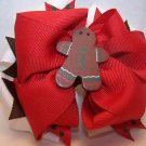 Boutique Gingerbread Man Christmas Hair Bow