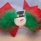 Boutique Snowman Fluffy Marabou Christmas Hair Bow