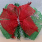 Boutique Green and Red Organza Christmas Hair Bow