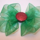 Boutique Green Organza Christmas Hair Bow