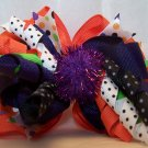 Funky Boutique Orange and Purple Hair Bow with Korker and Metallic Pom Pom