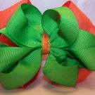 Boutique Orange and Lime Green Hair Bow
