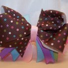 Boutique Pink and Brown Polka Dot Hair Bow