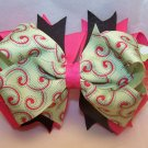 Boutique Hot Pink and Green Swirl Hair Bow