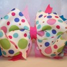 Boutique Pink, Green, and Blue Polka Dot Hair Bow