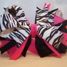 Boutique Hot Pink and Black Zebra Hair Bow