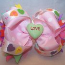 Boutique Pink Valentine's Day Hair Bow with Conversations Hearts