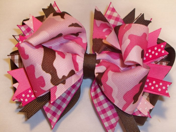 Boutique Hot Pink Camouflage Hair Bow