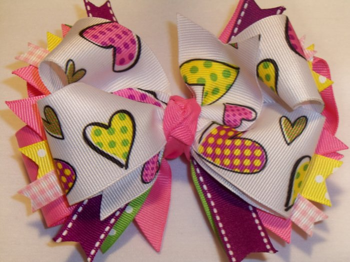 Boutique Heart Hair Bow
