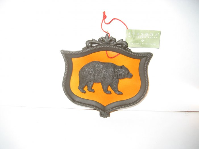 Bear Christmas Ornament - Glass & Metal - Seasons of Cannon Falls