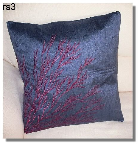 Ash ( dark gray ) Embroidered Raw Silk Cushion Cover ( rs 3) Set of two