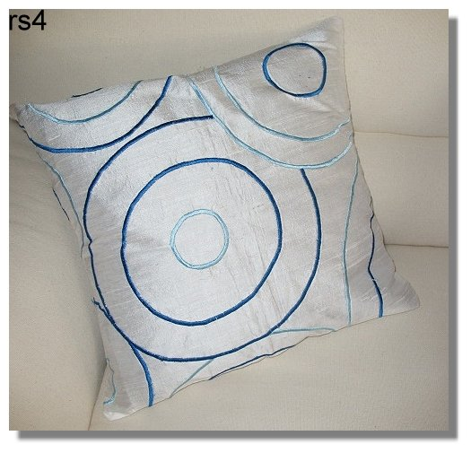 White Embroidered Raw Silk Cushion Cover ( rs 4) Set of two