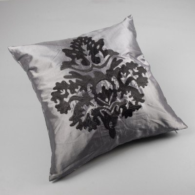 Gray and Black Damask Embroidered Cushion Cover