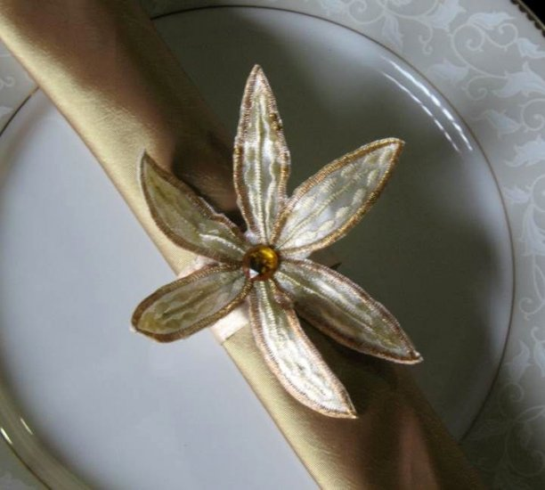 Gold Flower Napkin ring and Gold Napkin ( set of 6)