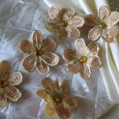 Gold Flower Napkin ring and Beige Napkin ( set of 6)