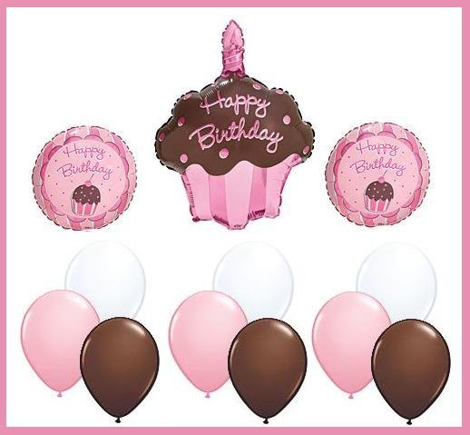 Cupcake Balloon Set - pink/brown - 12 pcs