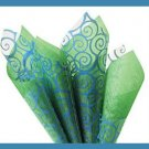 Periwinkle Swirl cello sheets & green tissue paper