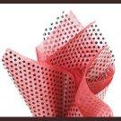 Black polka dot cello sheet & red tissue paper supplies