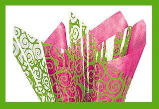Lime Swirl cello sheets & hot pink tissue paper supplie