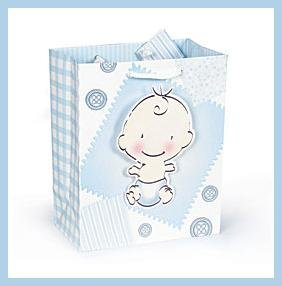 It's a Boy Buttons & Bows Baby shower gift bag with tag